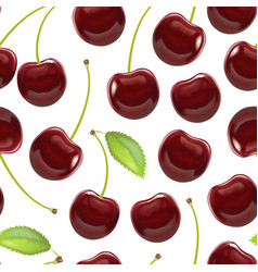 realistic detailed ripe red berry cherry vector image vector image