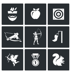 Set of Archery Icons Robin Hood Apple vector image vector image