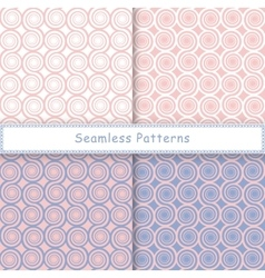 Set of seamless pattern with spiral shapes vector