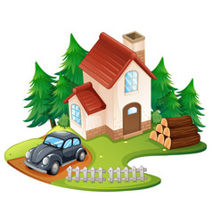 single house with black car parked in front vector image vector image