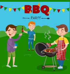 smiling man preparing barbecue outdoors for his vector image