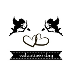 Valentines day cards with ornaments hearts angel vector