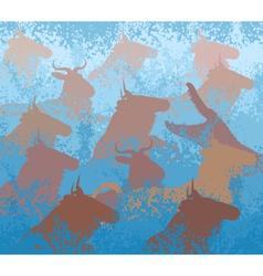 Wilderbeest swimming river vector