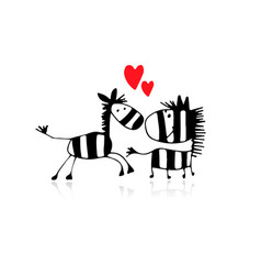 Zebra couple in love sketch for your design vector