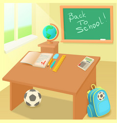 School classroom in cartoon style vector