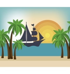 Beautiful summer landscape icon vector