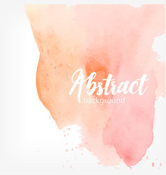 abstract watercolor stain peach and pink pastel vector image