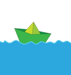 Paper boat at sea color vector