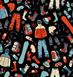 Seamless pattern of snowboard gear on black vector