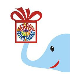 Happy birthday greeting card elephant with gift vector image