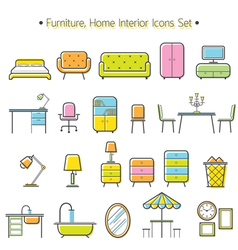Furniture line icons colorful set vector
