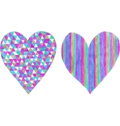 Two hearts made of colored pencil and isolated on vector