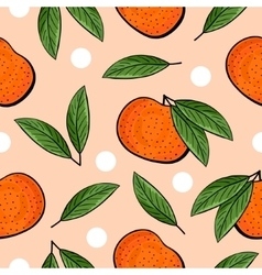 Seamless hand drawn tangerine pattern vector