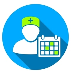 Doctor calendar flat round icon with long shadow vector