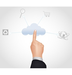 Cloud computing concept finger touching the cloud vector