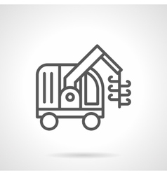 Grain harvester machine black line icon vector