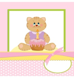 Babys greetings card with cat vector
