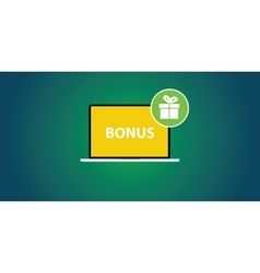 Bonus with laptop and text and gift box icon on vector
