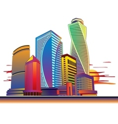 Buildings high-rise cityscape sunset vector