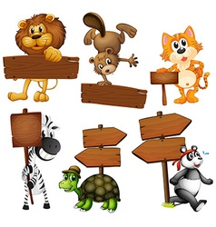 Animals with signboards vector image