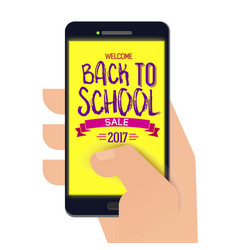 Back to school banner on smartphone vector
