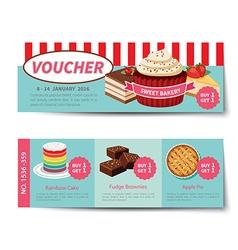 bakery voucher discount template design vector image vector image