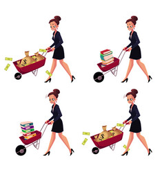 Businesswoman pushing wheelbarrow full of money vector