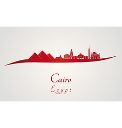 Cairo skyline in red vector