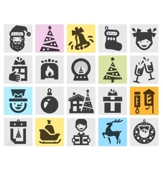 Christmas set black icons signs and symbols vector