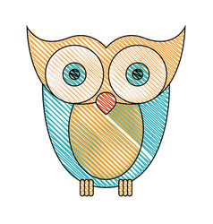 Color crayon stripe image of owl bird vector