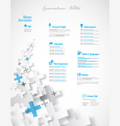 creative turquoise color cv resume template vector image
