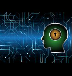 Cyber security keyhole lock circle human head vector