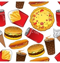 Fast food and drinks seamless pattern vector