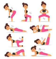 fitness girl woman sport exercise character vector image