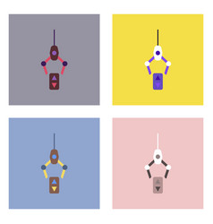 Flat icon design collection crane lifts vector