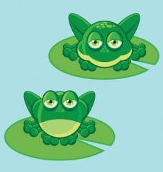 Frog on leaf vector