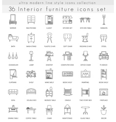 Furniture ultra modern outline line icons vector image vector image
