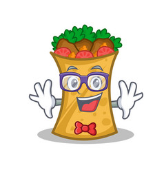 geek kebab wrap character cartoon vector image vector image