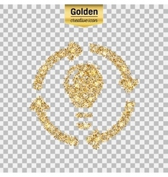 Gold glitter icon of bulb with arrows vector