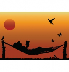 hammock sun vector image