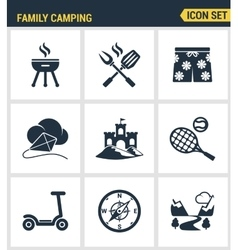 Icons set premium quality of family camping travel vector