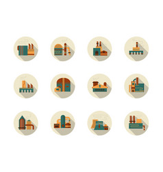 Industry round flat gray icons set vector