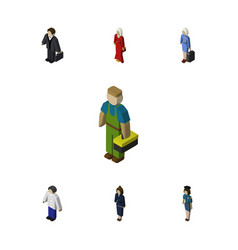 Isometric person set of hostess plumber male and vector
