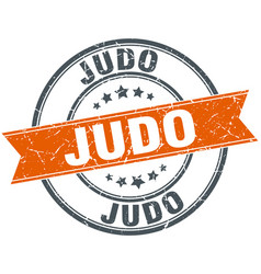 Judo round grunge ribbon stamp vector