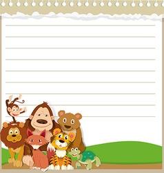 Line paper design with wild animals vector