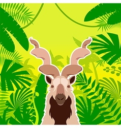 Markhor on the jungle background vector