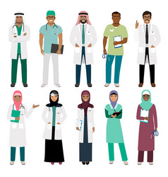 Muslim doctor and arabian nurse icons vector