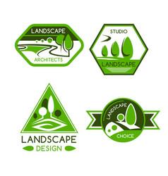 nature emblem for landscaping services design vector image vector image