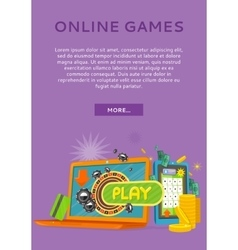 Online games concept flat style web banner vector