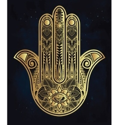 Ornate Hamsa Hand luck amulet vector image